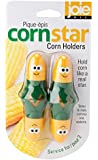 HIC Harold Import Joie Corn Star Interlocking Corn on The Cob Holders, 2 Pairs (4-Corn Picks), Yellow