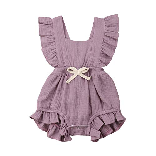 - WEUIE Toddler Baby Girl Ruffled Rompers Sleeveless Cotton Romper Bodysuit Jumpsuit Infant Clothes Purple