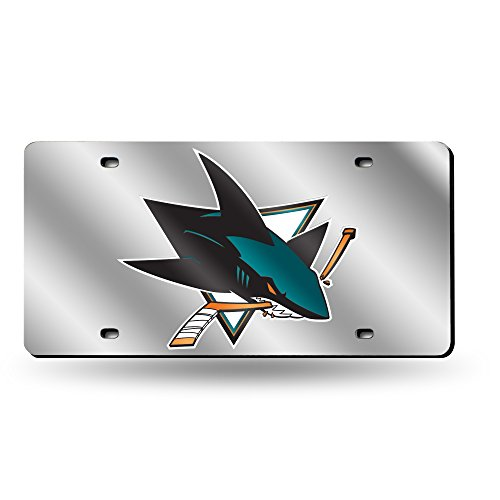 Rico Industries NHL San Jose Sharks Laser Inlaid Metal License Plate Tag, Silver ()