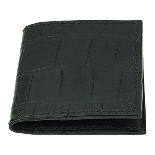 Handmade Black Leather Wallet Black Crocodile Card Grain Black Credit xzYfwa