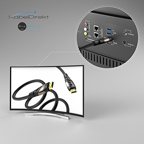 KabelDirekt 2m Cable HDMI 4K, compatible con (HDMI 2.0a/b, 2.0, 1.4a, 4K Ultra HD, 3D, Full HD 1080p, HDR, ARC High Speed con Ethernet, PS4, XBOX, HDTV), PRO Series