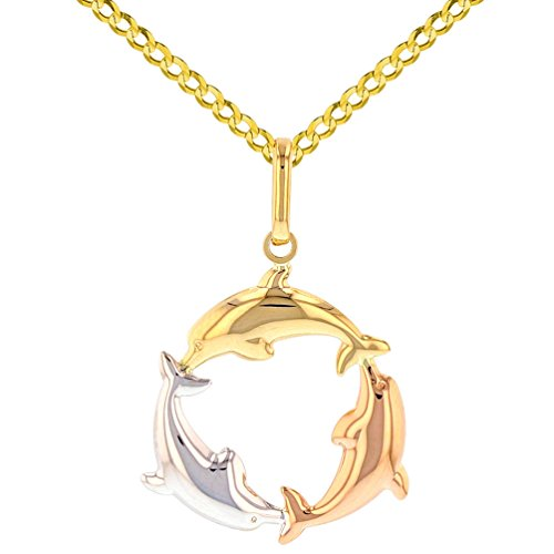 Polished 14K Tri-Color Gold Kissing Dolphin Circle Pendant Cuban Necklacee, 24