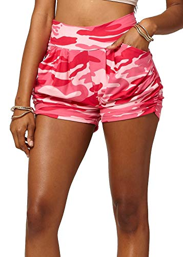 (Premium Ultra Soft Harem High Waisted Shorts for Women with Pockets - Squad Goals - Small/Medium (0-10) - NHS-F120-PINK-SM)