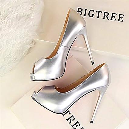 b6dd586ea5 Amazon.com: HuWang Fashion Peep Toe Women Pumps 2018 Concise Patent ...