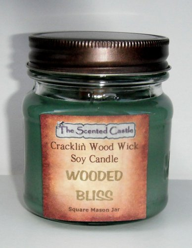 Wooded Bliss Scented Cracklin' Wood Wick Soy Candle - 8oz Square Mason Jar by The Scented Castle