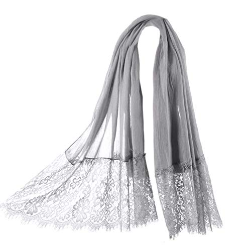 Women Fashion Scarf Wrap Shawl,RiscaWin Autumn Soft Lightweight Lace Scarves Warm Scarf(Charcoal)