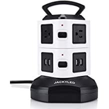 Power Strip Tower-JACKYLED Surge Protector Electric Charging Station 3000W 13A 16AWG 6 Outlet Plugs with 4 USB Slot 6ft Cord Wire Extension Universal Charging Station Office