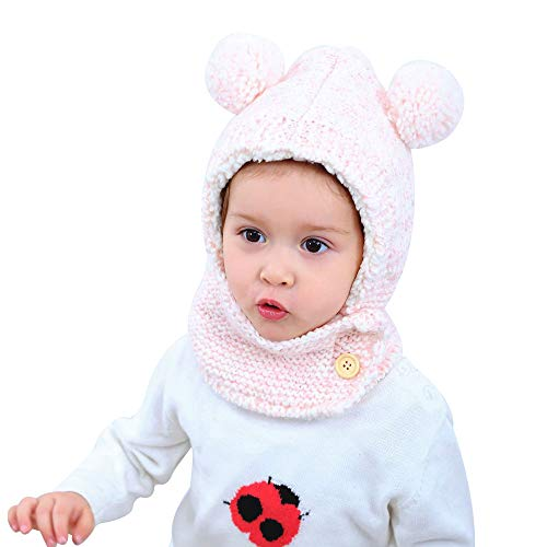 Baby Warm Winter Crochet Hat Toddler Pom Pom Earflap Cap with Neck Scarf 1-3Years (Pink Ball)