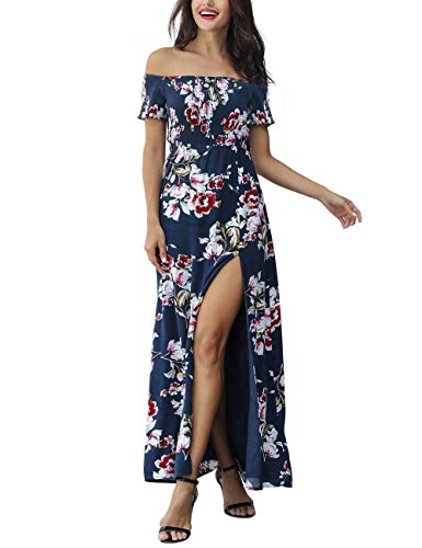 Azalosie Women Off Shoulder Maxi Dress Maternity Floral Short Sleeve Empire Waist Slit Dress Summer Party Beach Navy Blue
