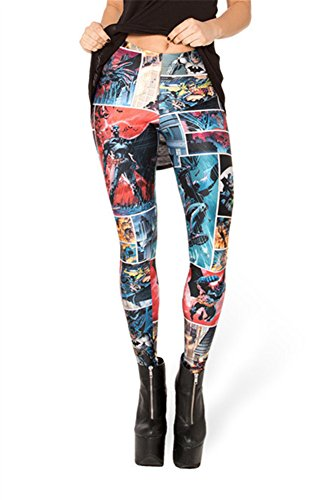 (Zanuce Women's 2015 NEW Anime Print Pattern Tight Stretch Leggings Batman Comic 823 One)