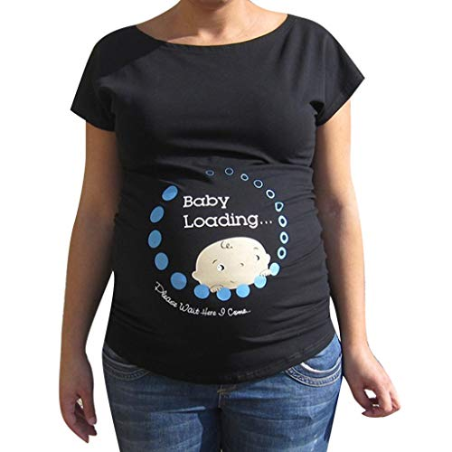 Fainosmny Pregnant Blouse Maternity Pullover Short Sleeve Shirt Print Soft Tops Maternity Clothes Plus Size Jumpers (Black, 3XL)