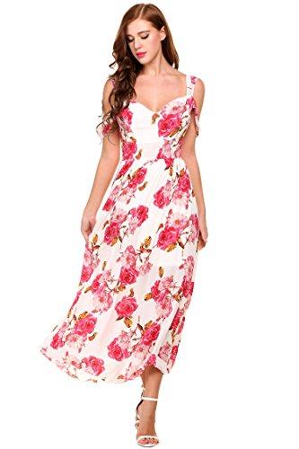 Teamyy Vestido largo estampado sin espalda vestido plisado casual de V cuello para las mujeres Blanco
