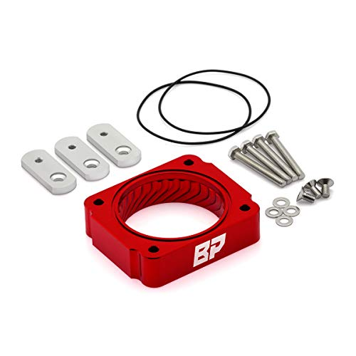 (BlackPath - Ford F-150 F-250 Super Duty F-350 Super Duty Throttle Body Spacer Performance (Red) T6 Billet)