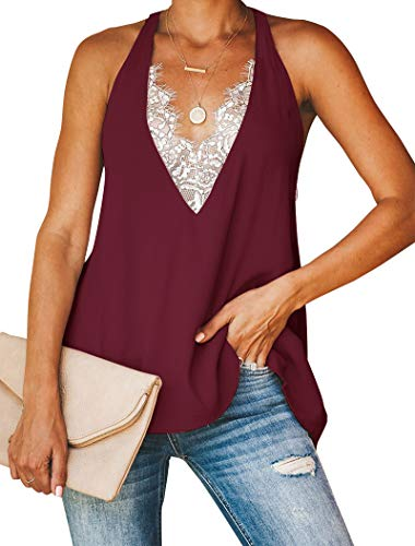 Minclouse Women's Lace Trim V Neck Tank Tops Sexy Racerback Loose Tops Wine - Trim Wide Top V-neck