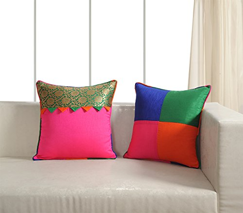 Set Of 2 Cushion Covers 18 x 18 Patch Work Brocade And Dupion Faux Silk Home Decor From India (Cushion Silk Dupion)