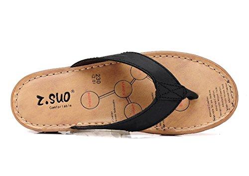 dqq - sandalias de piel de mujer tipo chancla Negro - negro