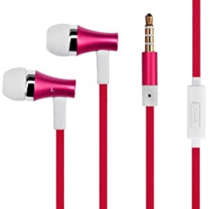 High Quality Bass Flat Wired RED Metal Earbuds Handsfree Headset Earphones w Mic for T-Mobile Alcatel OneTouch Fierce - T-Mobile HTC Amaze 4G - T-Mobile HTC Sensation 4G - T-Mobile HTC MyTouch 4G - T-Mobile HTC One