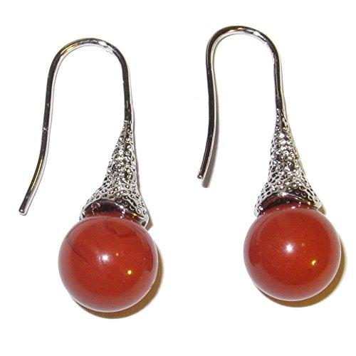 Genuine Red Jasper Earrings - Jasper Earrings Red 01 Dangle Ball 10mm Crystals Kundalini Energy Flow Stone Gems