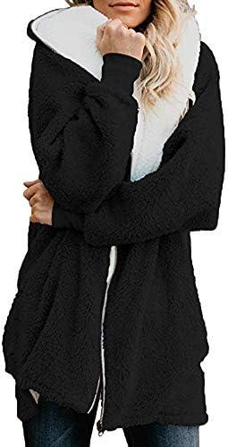 DONTAL Womens Solid Oversized Zip Down Hooded Fluffy Parka Coat Cardigans OutwearPocket