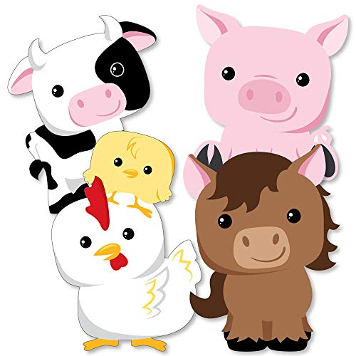 Farm Animals - Cow, Horse, Pig and Chicken Decorations DIY Baby Shower or Birthday Party Essentials - Set of -