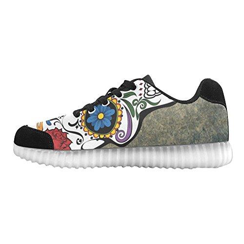 Interestprint Skull Light Up Shoes Flashing Sneakers Casual Platte Schoenen Voor Dames