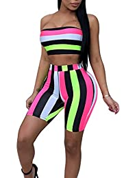 347efd315d49 Womens Sexy 2 Piece Outfits Bodycon Stripe Print Sleeveless Tube Top and  Hot Shorts Set Romper