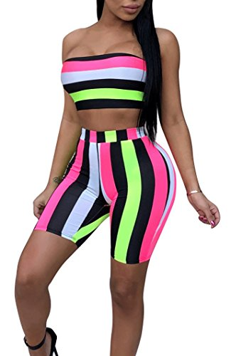 Scarf Stripe 3 (Womens Sexy 3 Piece Outfits Bodycon Stripe Print Sleeveless Tube Top and Hot Shorts Set Romper with Scarf Multi L)