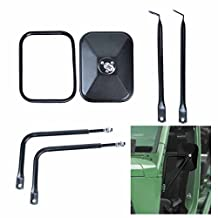 A Pair Shake-proof Rectangular Adventure Mirrors, AutoEC Jeep Wrangler Side View Door Mirrors, Bolt-on Door Hinge Mirror Fits All Jeep Wrangler JK CJ YJ TJ - 1 Pair, Textured Black