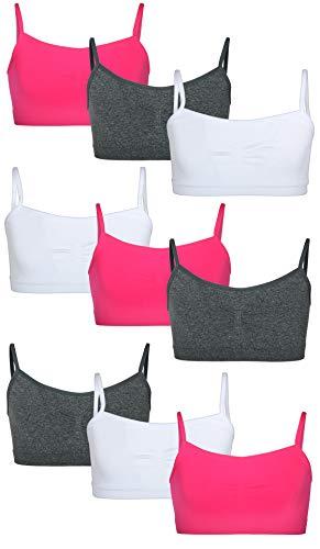 Sweet Princess Girls Nylon/Spandex Seamless Training Bra (9 Pack), Pop Pink, - Adjustable Bra Training