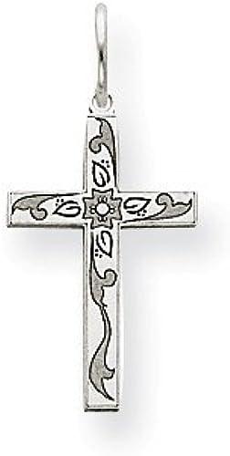 14K White Gold Laser Designed Cross Charm