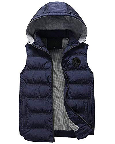 Uomo Cerniera Calda Bodywarmer Blau Slim Maniche Senza Tasche Con Distintivo Laterali Giacca Giovane Vest Trapuntato Cappotti Da Cappuccio Fit Gilet 6gBqP5