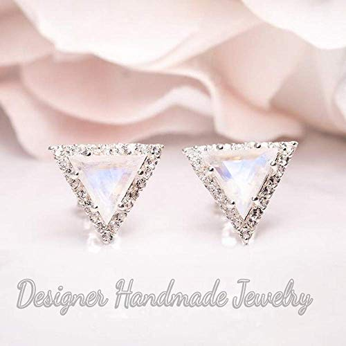 rainbow moonstone earring, triangle gemstone earring, halo stud earring, 925 sterling silver june birthstone, handcraft jewelry, brilliant moonstone jewelry, girlfriend gift jewelry, moonstone earring