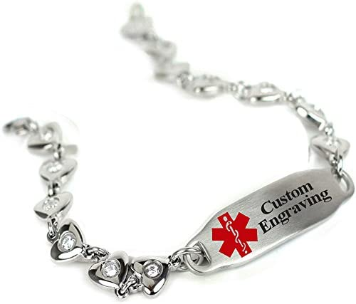 My Identity Doctor Custom Engraved Medical Bracelet 316L Stainless Steel Hearts, Round 2mm Cubic Zirconia