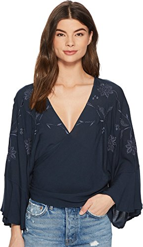 Lucky Brand Women's Embroidered Wrap Top Dark Teal X-Small/Small (Surplice Embroidered)