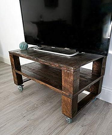 Dydaya Mesa de Palets Pintada en Color Nogal para TV - Mesas para TV Altas con Ruedas Estilo Industrial & Vintage (Madera Natural 90x50x35)