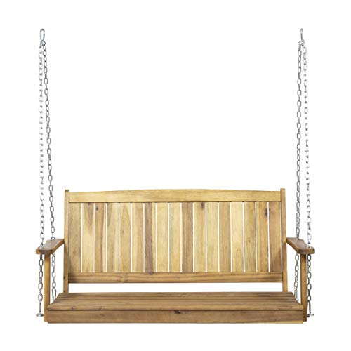 Great Deal Furniture Lilith Outdoor Aacia Wood Porch Swing, Teak