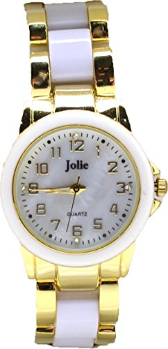 - Jolie Ladies' Gold-tone Crystallized Watch with Mother of Pearl Dial