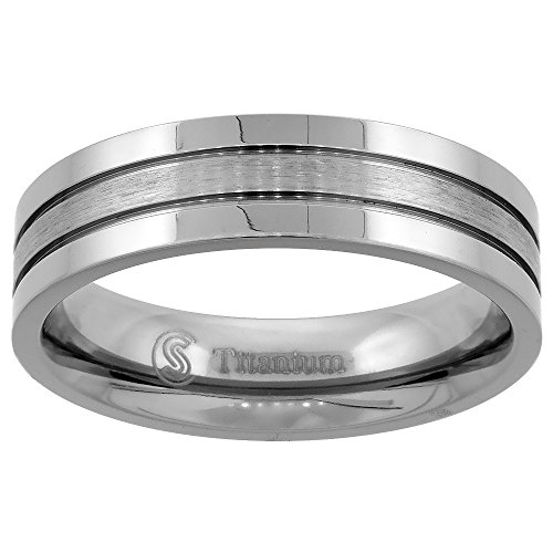 6mm Titanium Wedding Band Ring 2 Grooves Brushed Center Flat Comfort Fit size 10.5