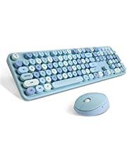 Wireless Keyboard and Mouse Combo, Sweet Mixed Color Cute Keyboard, 2.4G USB Ergonomic Keyboard and Mouse Combo for Computer, Laptop, PC Desktops, mac (Blue Mixed Style Keyboard + Mouse)
