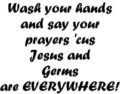 Amazon.com: Wash Your Hand Jesus & Germs Bathroom Mirror Kitchen ...