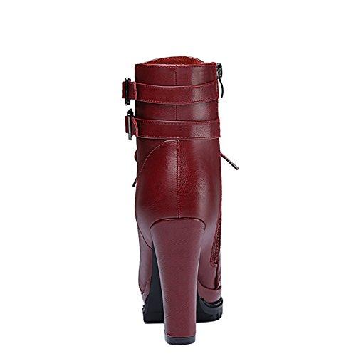 Boots BERTERI Women's Fashion Lady's Thick Short Boots Martin Claret Heel q8aHUq