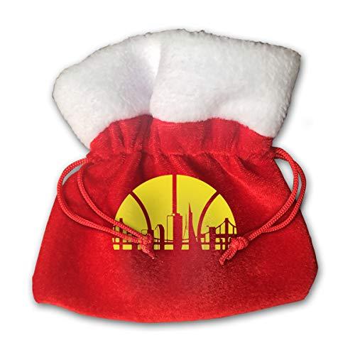Sfgggerrd Golden State Basketball Skyline Reusable Kids Christmas Drawstring Pouches Candy Jewelry Gift Bag Santa Present