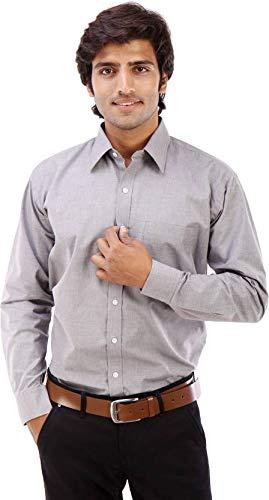 Elite formals Men #39;s Solid Formal Grey Shirt