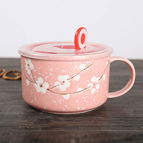 VanEnjoy 30oz Ceramic Bowl Set with Lid & Handle,Cherry Blossoms Among Snow Flake Pattern,Microwave for Instant Noodle Sara, Cereal Bowl ()