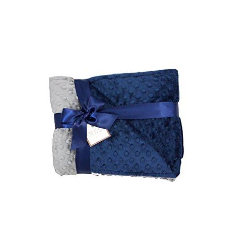 MEG Original Navy Blue & Charcoal Minky Dot Baby Boy/Toddler Crib Blanket 6787