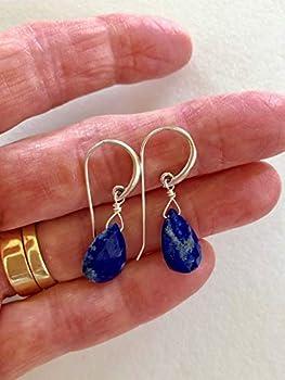 hammered textured sterling silver wrapped teardrop briolette statement artisan chandelier Blue Lapis Lazuli /& Turquoise gemstone earrings
