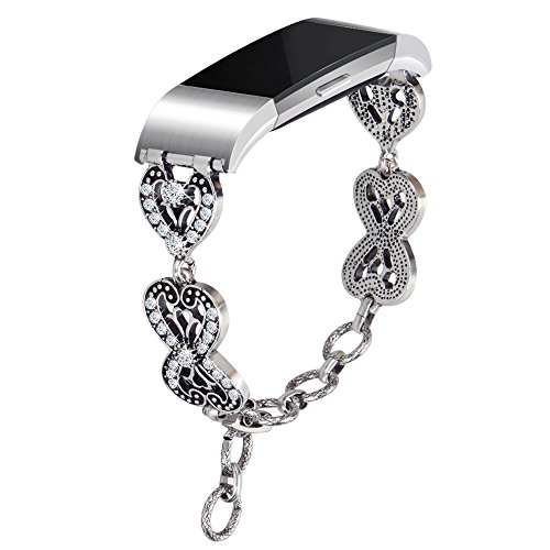 for Fitbit Charge 2 Bands, Somoder Vintage Chain Jewelry Bracelet with Rhinestone Bling for Fitbit Charge 2, Ajustable 5.7 - 9.1