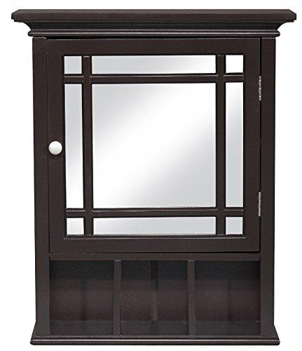 Elegant Home Fashions Neal Collection Mirrored Medicine Cabinet, White (Dark Espresso)