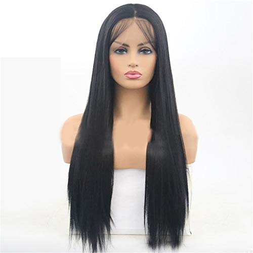 Front Lace Chemical Fiber Wig Headband Natural Black Medium Length Straight Hair Set Heat Resist Cospaly Party Bob Hair Wig for Lady Madam Daily Life
