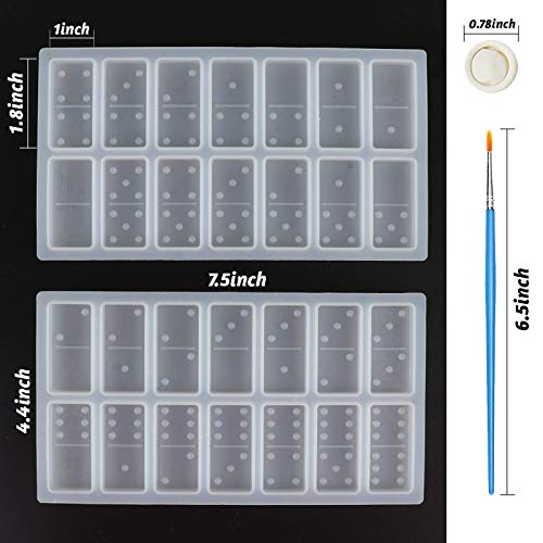 LOKiVE Silicone Resin Molds Domino, 2PCS Domino Double Six Epoxy Resin Molds, Silicone Domino Game Molds for DIY Silicone Molds for Personlized Dominoes, Painting Brushes & 20 Latex Finger Cots